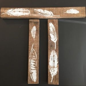 Rustic Painted Wood Feather Art 3 Piece Reclaimed